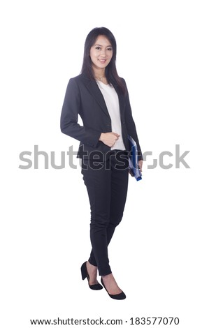 Asian business woman give you excellent gesture, close up portrait on white background - stock photo
