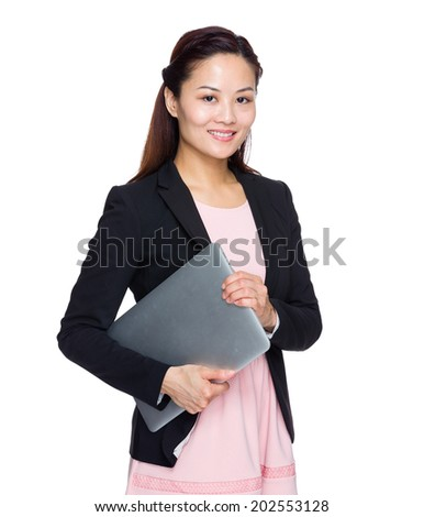 Asian business woman hold with laptop computer