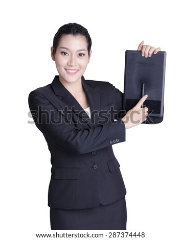 asian business woman holding pad over white background