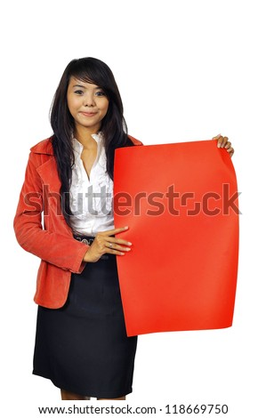 Asian business woman holding red banner isolated over white background. You can put your message on the banner