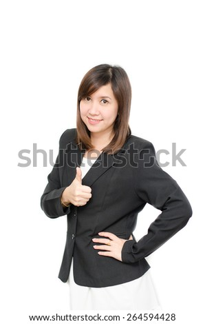 Asian Business  woman in suit thumb up portrait on white background - stock photo