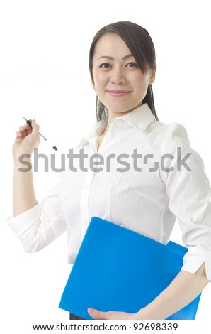 Asian business woman isolated on white background