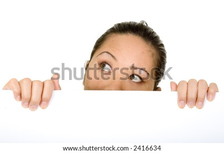 asian business woman looking up over a white card