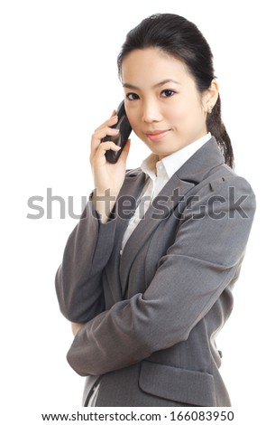Asian business woman mobile - stock photo