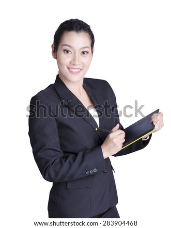 asian business woman over white background