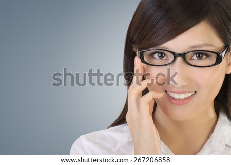 Asian business woman portrait with black glass and look at you. - stock photo