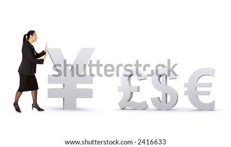asian business woman pushing a yen towards other currencies