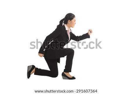 Asian business woman running isolated over white background - stock photo