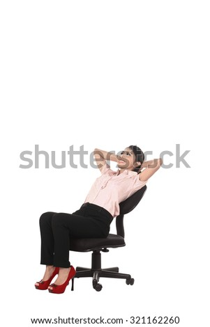 Asian business woman sitting isolated over white background