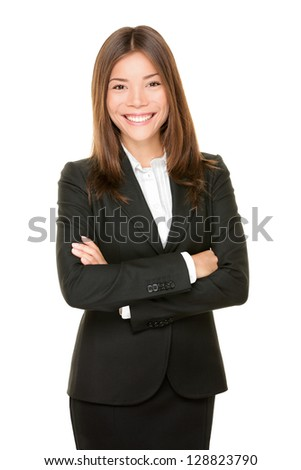 Asian business woman smiling happy portrait in black suit standing proud and confident with arms crossed isolated on white background. Young mixed Asian Chinese / Caucasian professional businesswoman - stock photo
