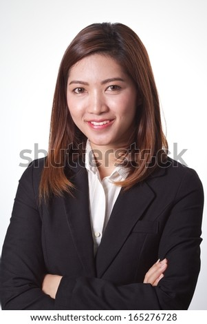 Asian business woman smiling on white background