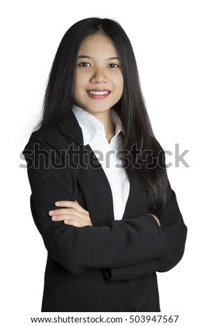 Asian Business Woman smiling with white background.