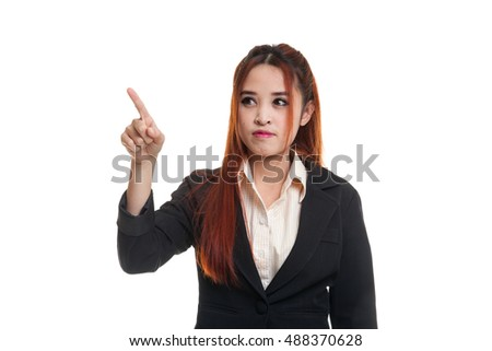 Asian business woman touching the screen with her finger isolated on white background  isolated on white background.