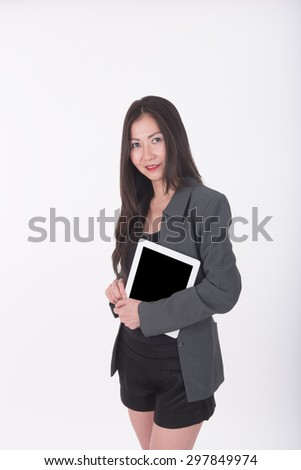 asian business woman use computer tablet