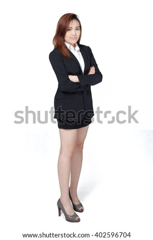 Asian Business woman with arms crossed on white background