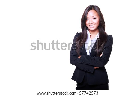 Asian Business woman with arms folded isolated on white background - stock photo