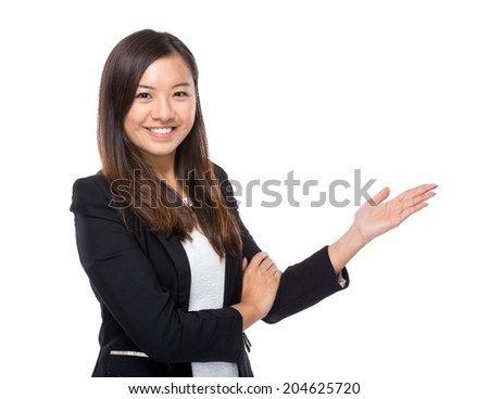 Asian business woman with hand presentation