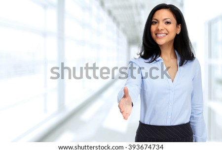 Asian business woman with handshake. - stock photo
