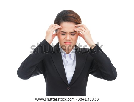 Asian business woman with headache isolated on white background