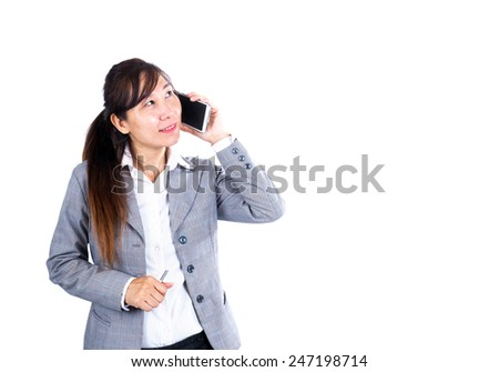 Asian Business woman with mobile phone on white background - stock photo