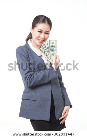 asian business women hold US dollar bank note in hand. shot on white background