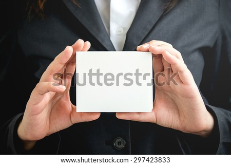 Asian Business women's hand showing blank business card ,The concept of Business