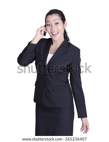 asian business women talking on mobile phone