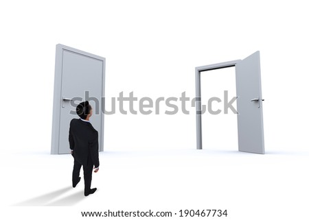 Asian businessman against closed and open doors
