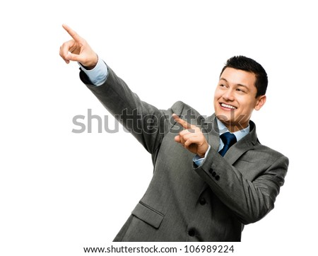 Asian businessman celebrating success on white background