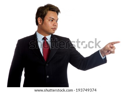 Asian businessman don't care about anything isolated on white background