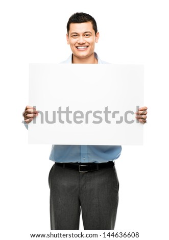 asian businessman holding billboard - stock photo