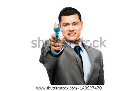 asian businessman holding gun to head is depressed