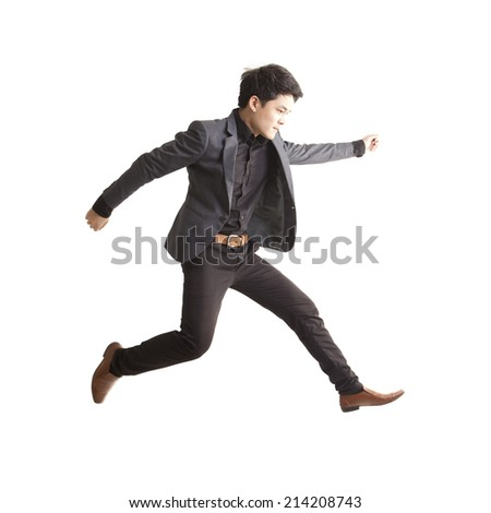 Asian businessman jumping,isolate on white background.