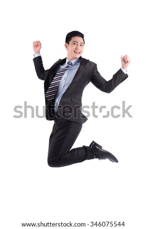 Asian businessman jumping. Successful business man isolated on white background.
