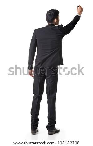 Asian businessman paint something, full length portrait isolated on white. - stock photo