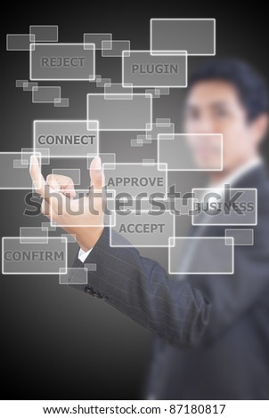 Asian  businessman putting connect word for business concept.