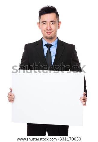 Asian Businessman show with white banner