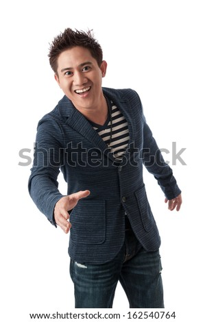 Asian businessman smiling and offer handshake  - stock photo
