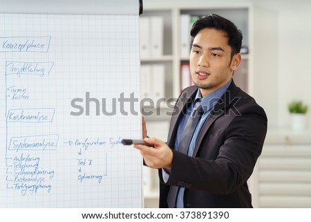 Asian businessman taking questions in a meeting with colleagues as he gives a presentation using a flip chart - stock photo
