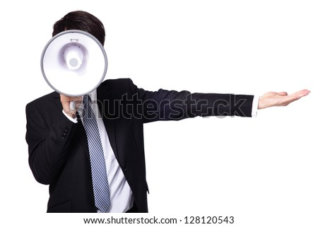 asian businessman using bullhorn  isolated on white background