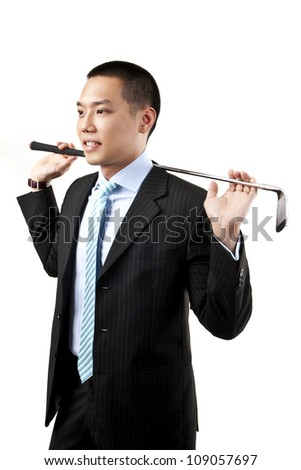 Asian businessman with golf club isolated