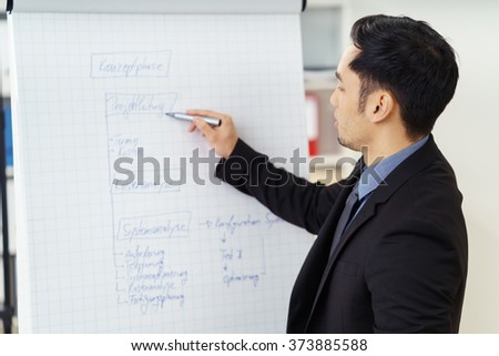 Asian businessman working on a presentation standing writing on a diagram on a flip chart with a marker pen - stock photo