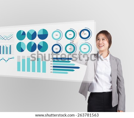 Asian businesswoman analyzing business growth