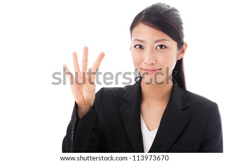asian businesswoman counting on white background - stock photo