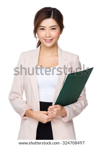 Asian businesswoman hold with file board