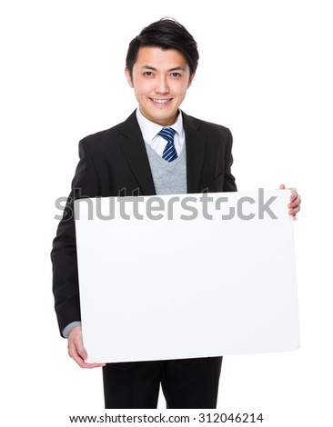Asian businesswoman hold with white board