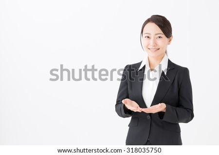 asian businesswoman holding isolated on white background