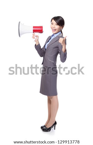 asian businesswoman holding megaphone ,thumbs up