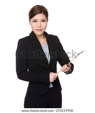 Asian businesswoman holding with clipboard