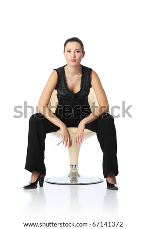 Asian businesswoman in black pants sitting in chair, isolated on white background